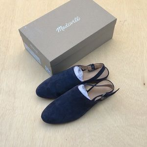 Madewell slingback flats in suede 7.5 w/ box